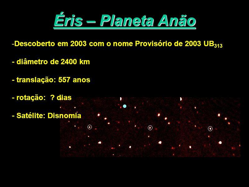 Éris – Planeta Anão -Descoberto em 2003 com o nome Provisório de 2003 UB 313 - diâmetro de 2400 km - translação: 557 anos - rotação: ? dias - Satélite