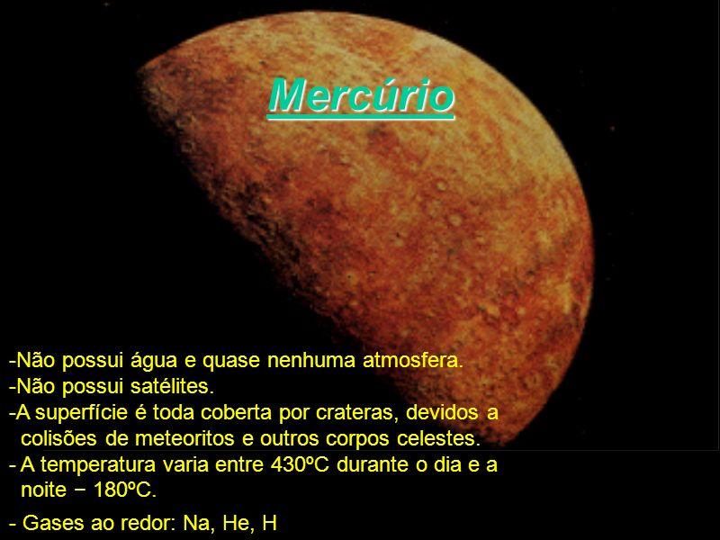 Mercúrio -Não possui água e quase nenhuma atmosfera. -Não possui satélites. -A superfície é toda coberta por crateras, devidos a colisões de meteorito