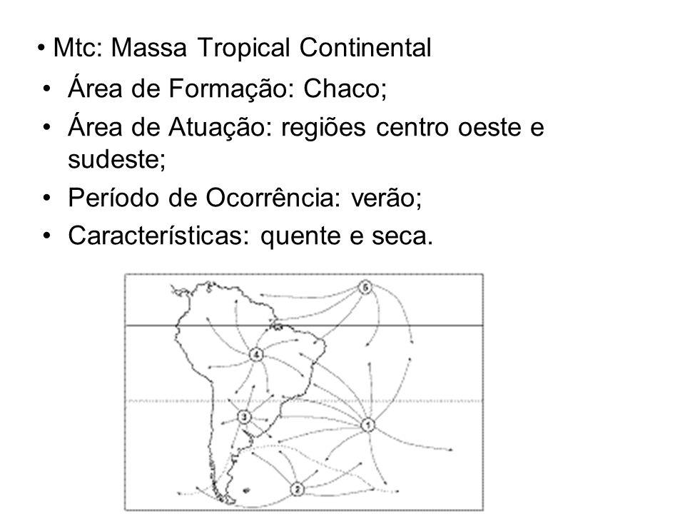Mtc: Massa Tropical Continental Área de Formação: Chaco; Área de Atuação: regiões centro oeste e sudeste; Período de Ocorrência: verão; Características: quente e seca.