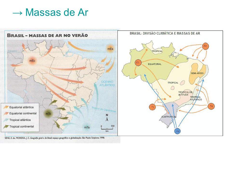 Mpa: Massa Polar Atlântica Área de formação: Atlântico Sul Área de atuação: Região Sul, SP, sul de MG e MS, litoral e oeste do Brasil; Período de ocorrência: inverno Características: fria e úmida