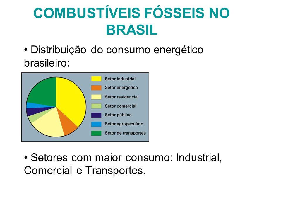 COMBUSTÍVEIS FÓSSEIS NO BRASIL Distribuição do consumo energético brasileiro: Setores com maior consumo: Industrial, Comercial e Transportes.