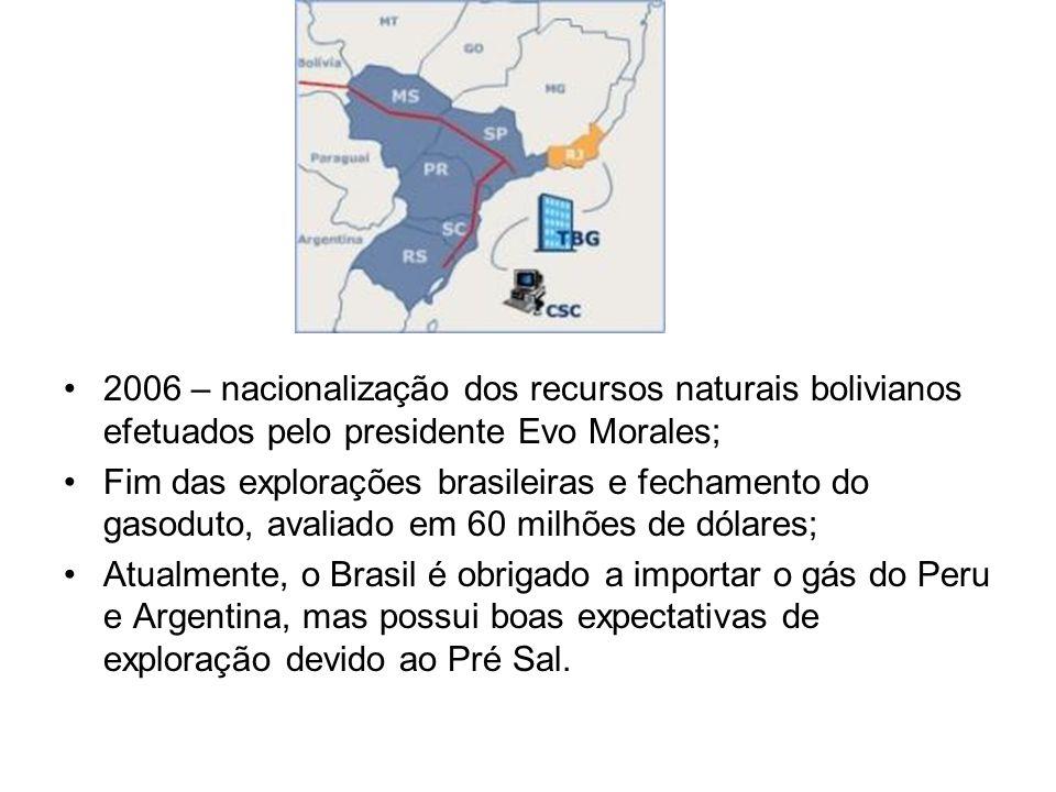 2006 – nacionalização dos recursos naturais bolivianos efetuados pelo presidente Evo Morales; Fim das explorações brasileiras e fechamento do gasoduto