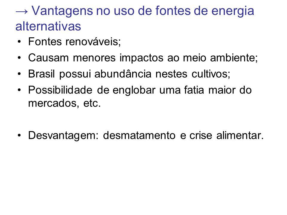 Vantagens no uso de fontes de energia alternativas Fontes renováveis; Causam menores impactos ao meio ambiente; Brasil possui abundância nestes cultiv
