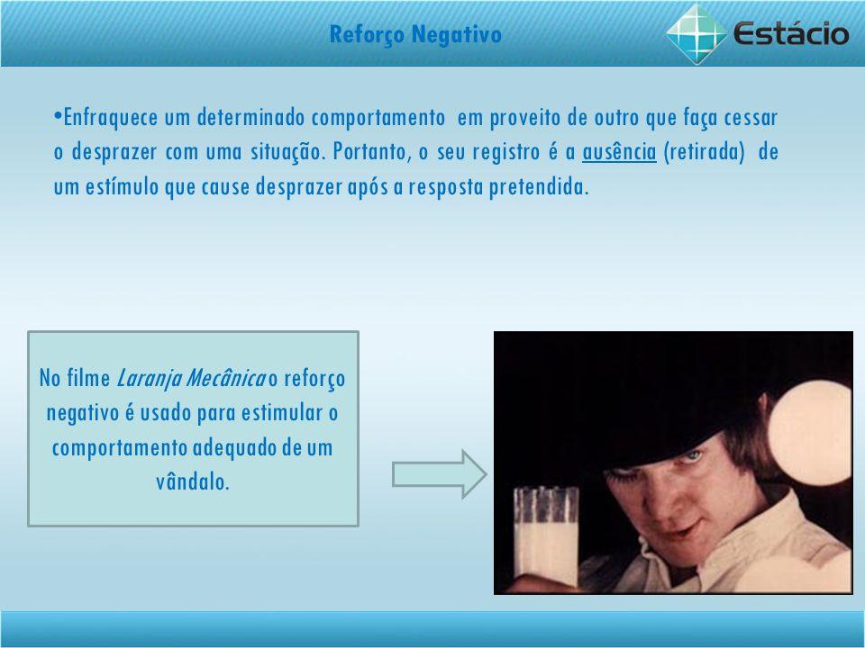 Reforço Negativo Enfraquece um determinado comportamento em proveito de outro que faça cessar o desprazer com uma situação. Portanto, o seu registro é