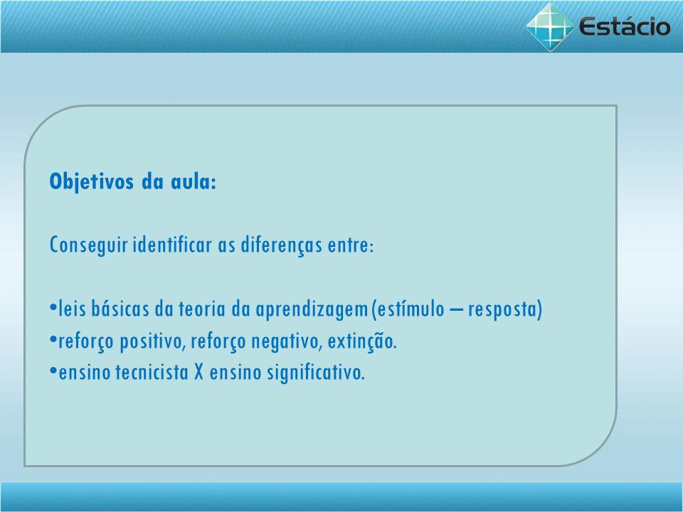Objetivos da aula: Conseguir identificar as diferenças entre: leis básicas da teoria da aprendizagem (estímulo – resposta) reforço positivo, reforço n