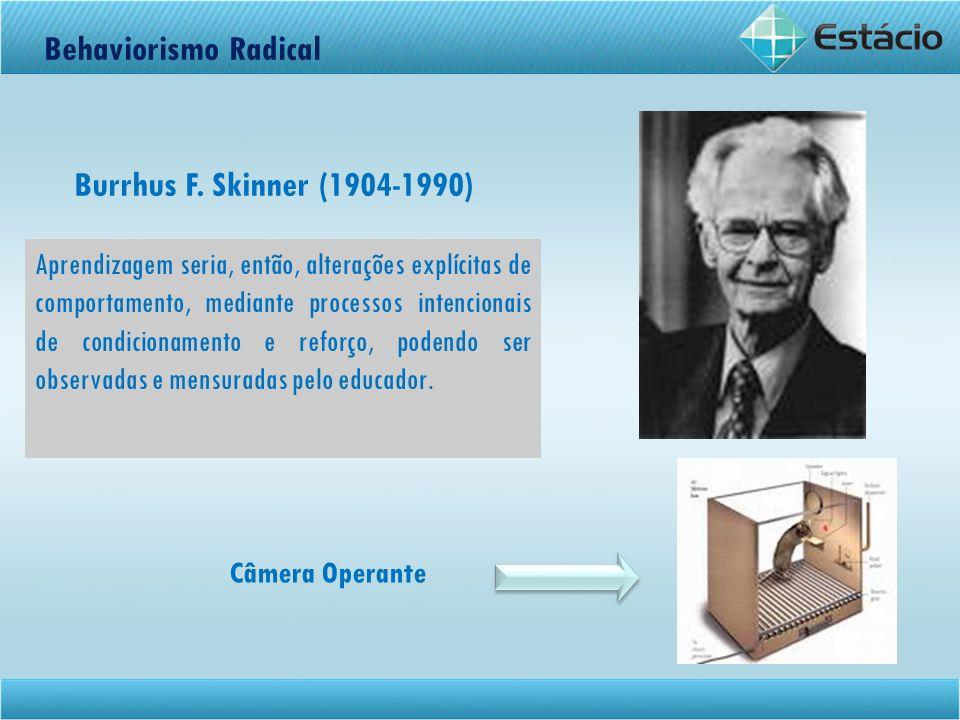 Behaviorismo Radical Aprendizagem seria, então, alterações explícitas de comportamento, mediante processos intencionais de condicionamento e reforço,