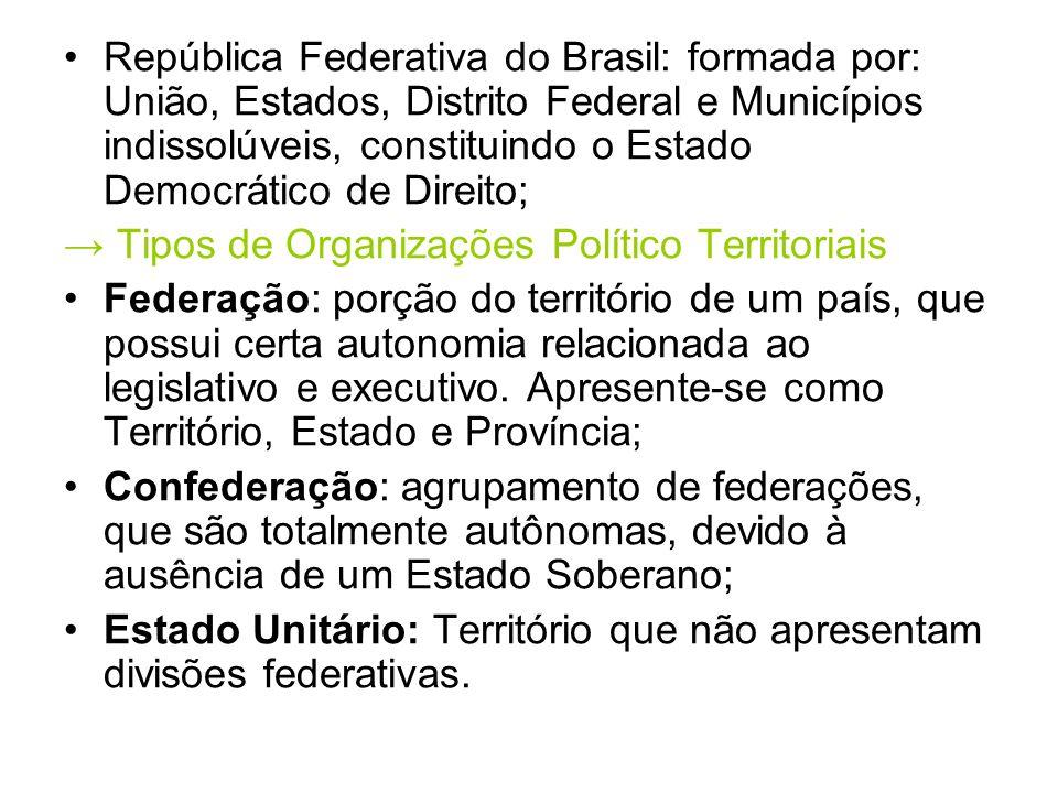 República Federativa do Brasil: formada por: União, Estados, Distrito Federal e Municípios indissolúveis, constituindo o Estado Democrático de Direito