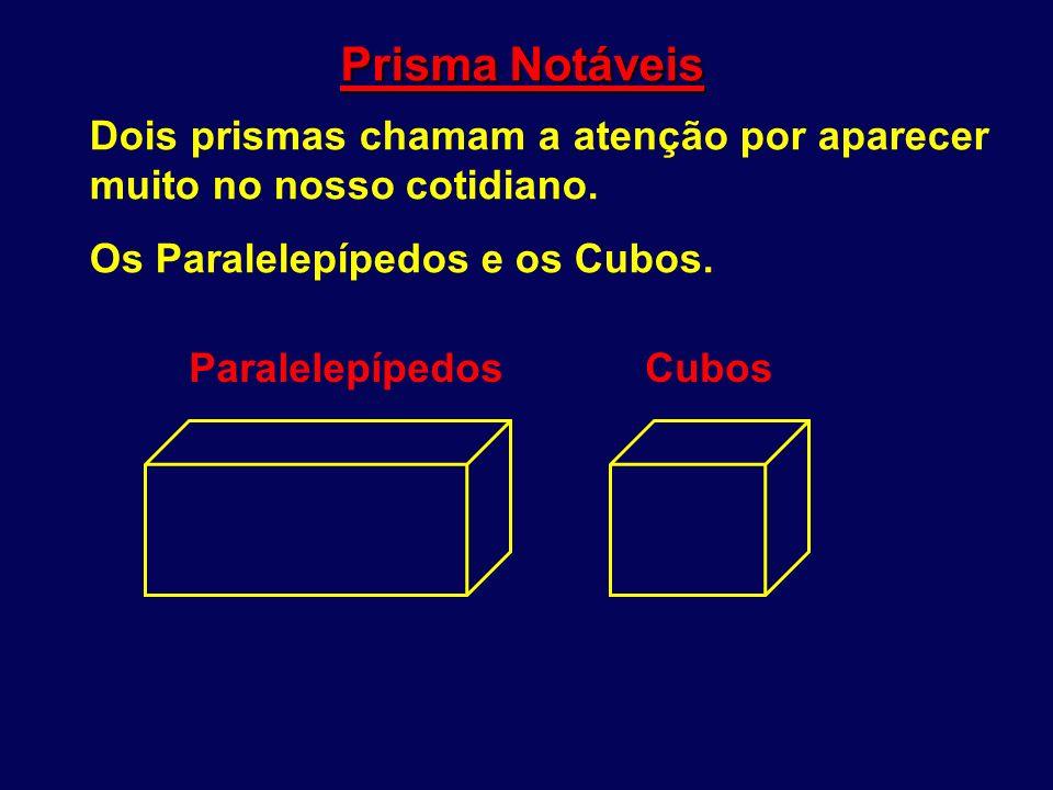 Prisma Notáveis Dois prismas chamam a atenção por aparecer muito no nosso cotidiano. Os Paralelepípedos e os Cubos. ParalelepípedosCubos
