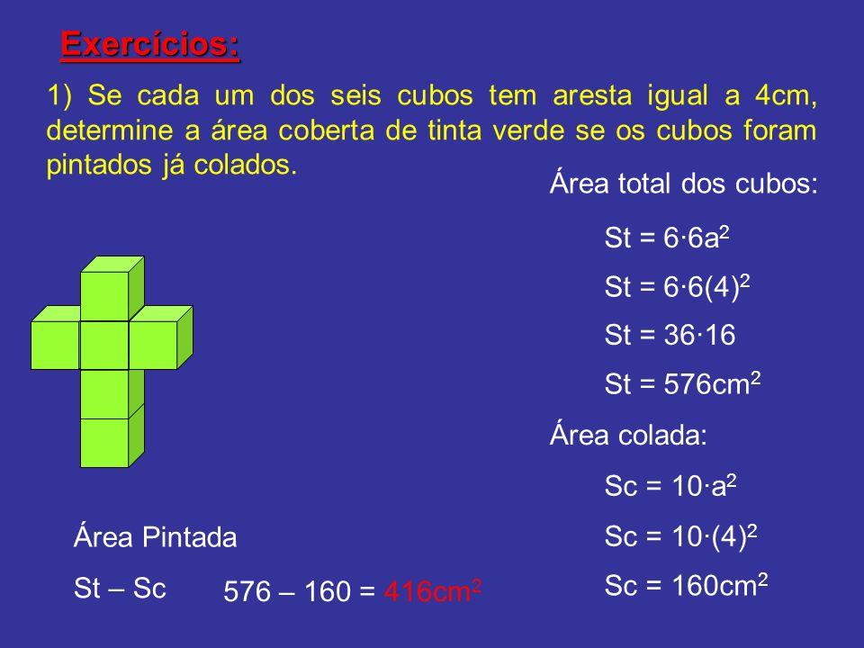 Exercícios: 1) Se cada um dos seis cubos tem aresta igual a 4cm, determine a área coberta de tinta verde se os cubos foram pintados já colados. Área t