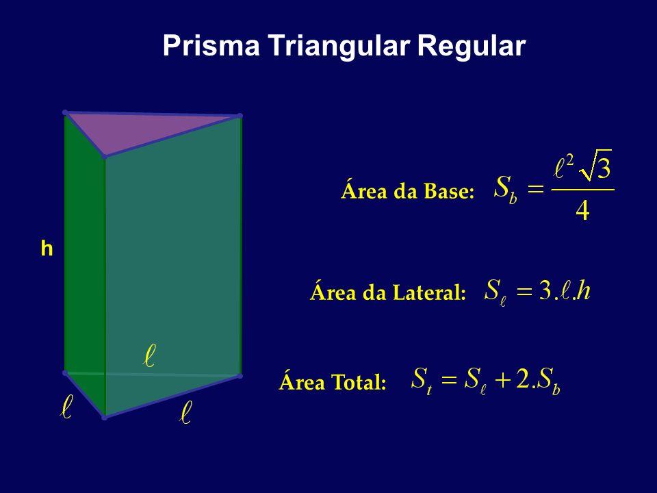 Prisma Triangular Regular h Área da Base: Área da Lateral: Área Total: