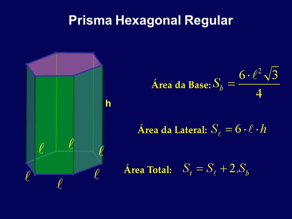 Prisma Hexagonal Regular h Área da Base: Área da Lateral: Área Total:
