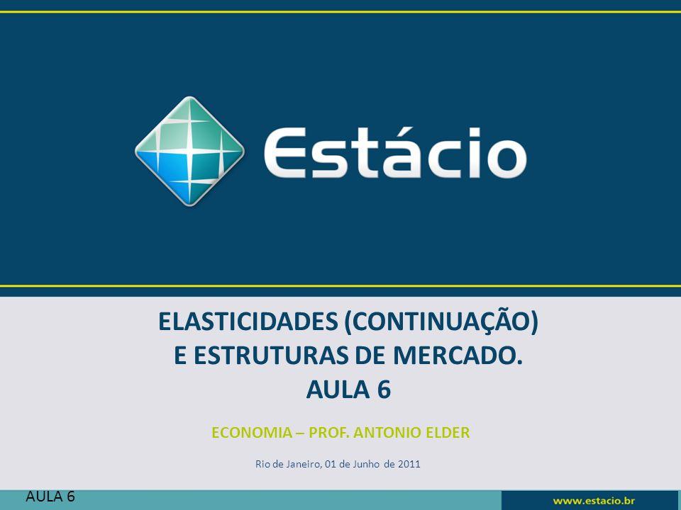 ECONOMIA – PROF. ANTONIO ELDER Rio de Janeiro, 01 de Junho de 2011 AULA 6 ELASTICIDADES (CONTINUAÇÃO) E ESTRUTURAS DE MERCADO. AULA 6
