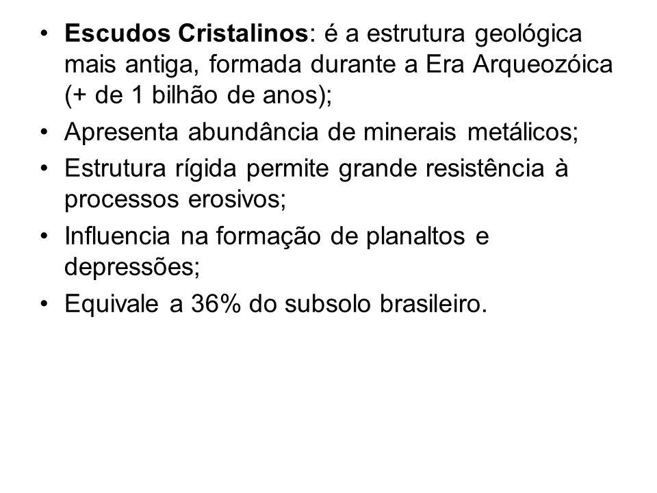 Escudos Cristalinos: é a estrutura geológica mais antiga, formada durante a Era Arqueozóica (+ de 1 bilhão de anos); Apresenta abundância de minerais metálicos; Estrutura rígida permite grande resistência à processos erosivos; Influencia na formação de planaltos e depressões; Equivale a 36% do subsolo brasileiro.