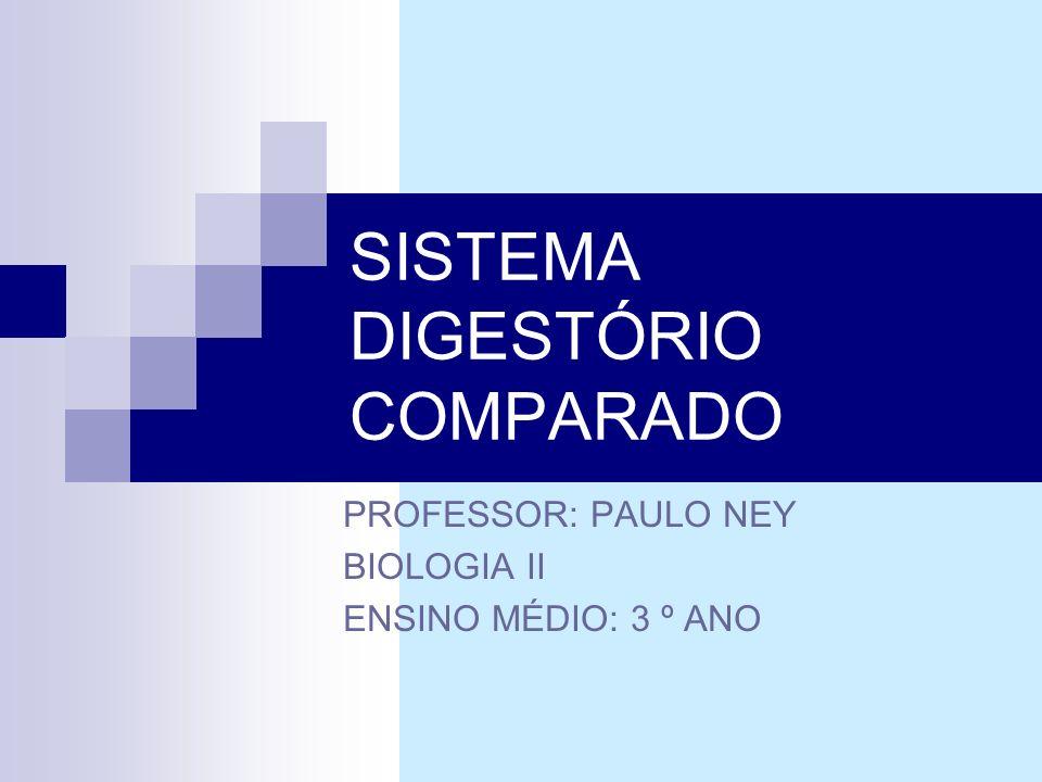 SISTEMA DIGESTÓRIO COMPARADO PROFESSOR: PAULO NEY BIOLOGIA II ENSINO MÉDIO: 3 º ANO