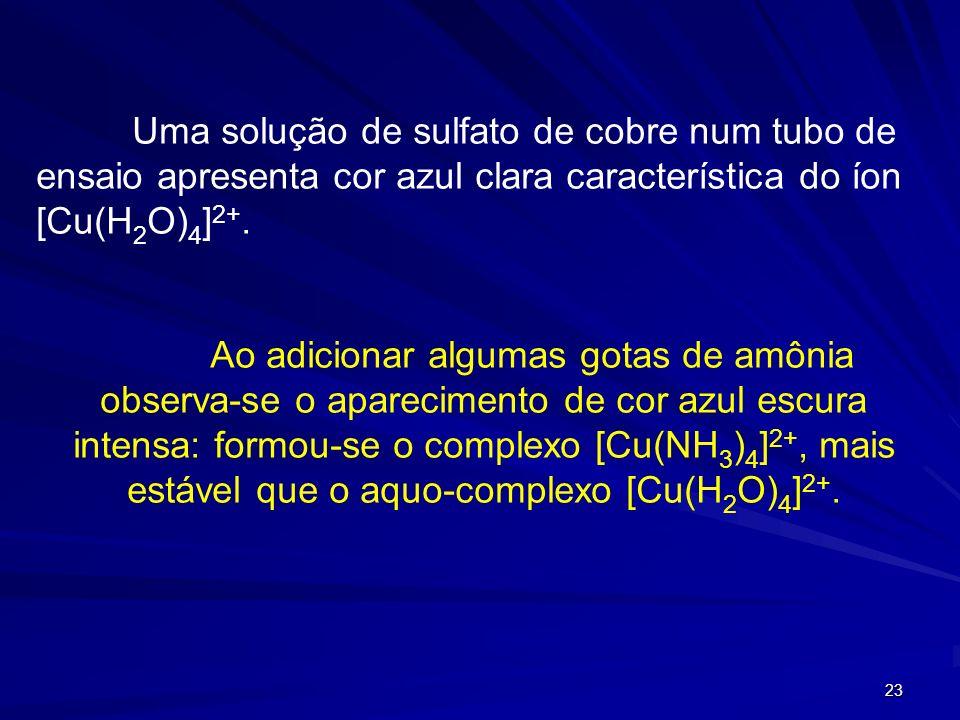 22 [Cu(H 2 O) 4 ] 2+ + NH 3 [Cu(NH 3 )] 2+ K 1 = 1,41 10 4 [Cu(NH 3 )] 2+ + NH 3 [Cu(NH 3 ) 2 ] 2+ K 2 = 3,16 10 3 [Cu(NH 3 ) 2 ] 2+ + NH 3 [Cu(NH 3 )