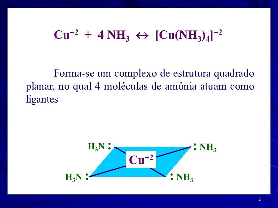 2 EQUILÍBRIO DE COMPLEXAÇÃO Compostos estáveis, com existência independente e com ligações químicas que obedecem às regras de valência, podem reagir e
