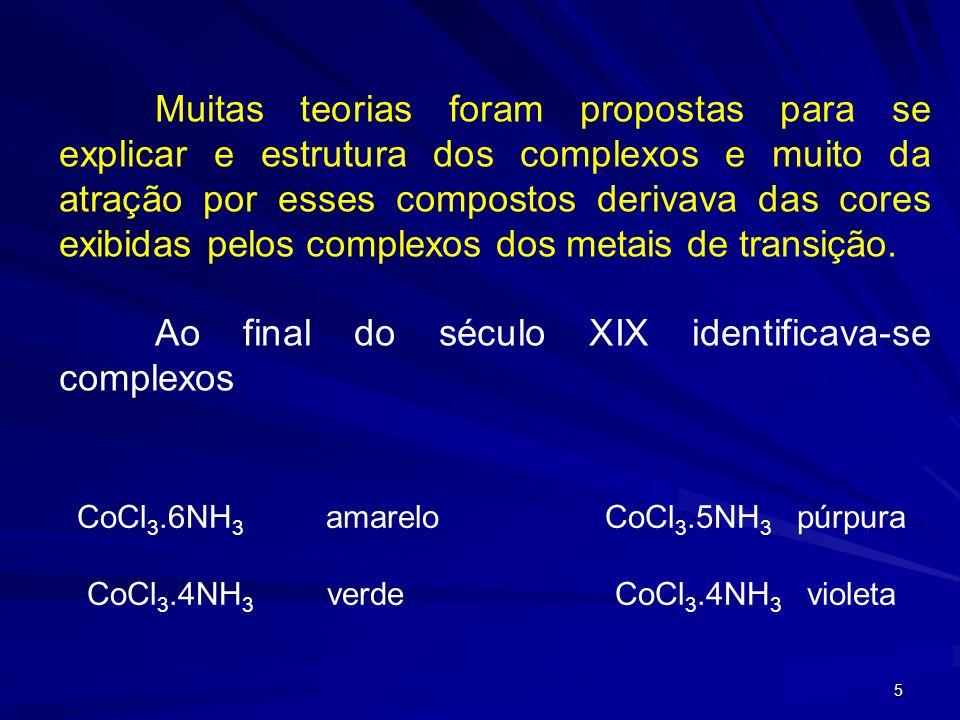 4 Histórico Um dos complexos mais antigos que se conhece é o pigmento empregado em pintura denominado Azul da Prússia, KFe[Fe(CN) 6 ] 3- Outros comple