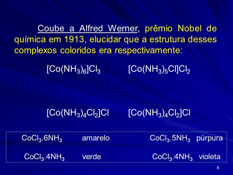 5 Muitas teorias foram propostas para se explicar e estrutura dos complexos e muito da atração por esses compostos derivava das cores exibidas pelos c