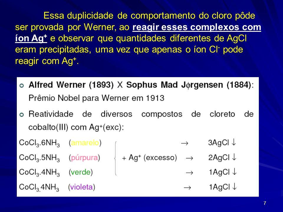 6 Coube a Alfred Werner, prêmio Nobel de química em 1913, elucidar que a estrutura desses complexos coloridos era respectivamente: [Co(NH 3 ) 6 ]Cl 3