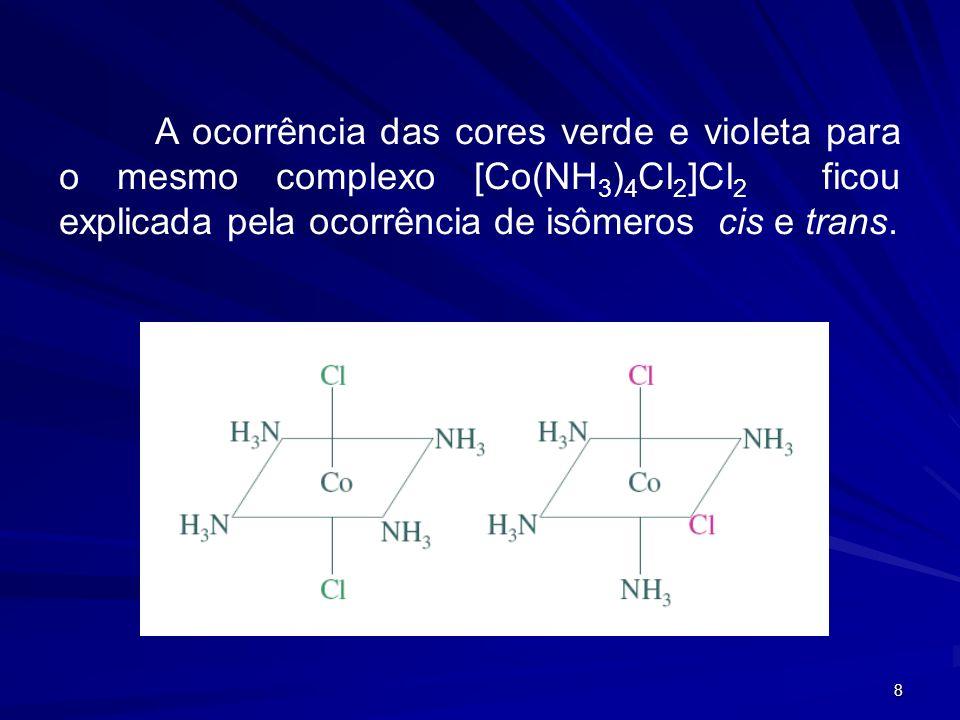 7 Essa duplicidade de comportamento do cloro pôde ser provada por Werner, ao reagir esses complexos com íon Ag + e observar que quantidades diferentes