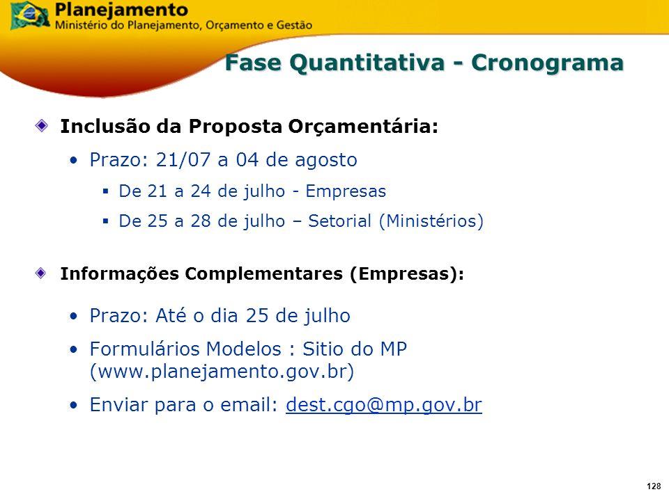 127 Captação da Proposta Orçamentária 2007 Orçamento de Investimento das Empresas Estatais Departamento de Coordenação e Controle das Empresas Estatai