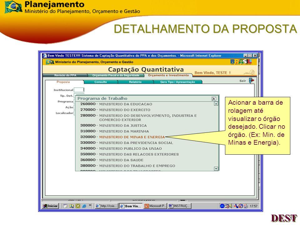 136 DETALHAMENTO DA PROPOSTA Clicar uma vez no quadrado Institucional DEST