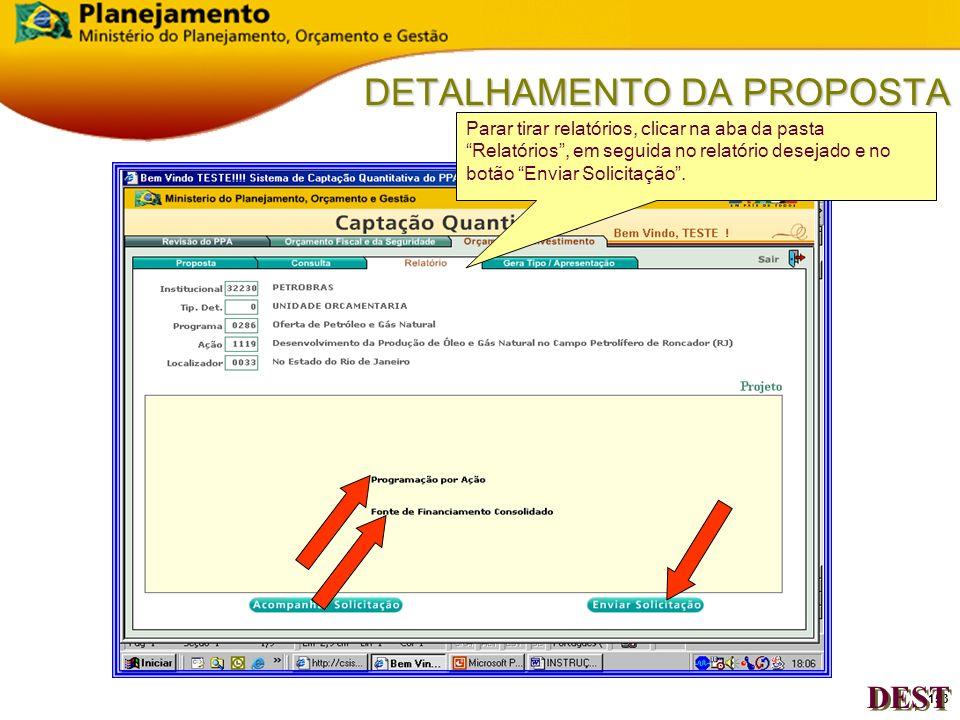 152 DETALHAMENTO DA PROPOSTA Indicativo do sistema de envio da Solicitação de Retorna Tipo ou de Gera Tipo (Não é On- Line). DEST