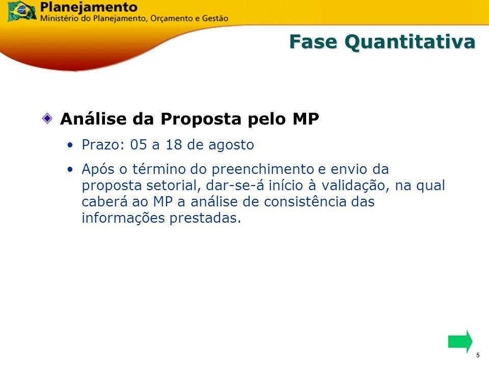 4 Fase Quantitativa Fixação dos Limites 2007-2010 (Fiscal/Seguridade) Prazo: 01 a 21 de julho Durante o período: São realizados estudos prospectivos d
