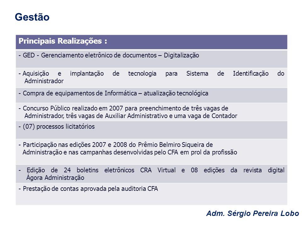 Adm. Sérgio Pereira Lobo Gestão Principais Realizações : - GED - Gerenciamento eletrônico de documentos – Digitalização - Aquisição e implantação de t