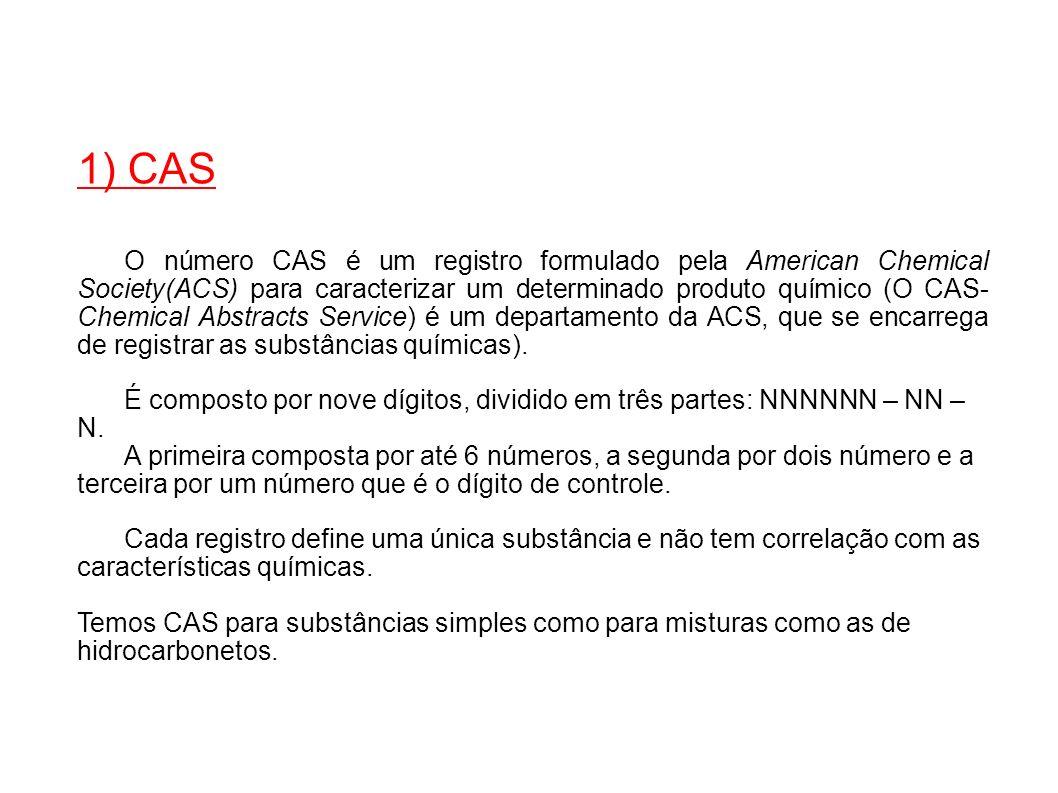 1) CAS O número CAS é um registro formulado pela American Chemical Society(ACS) para caracterizar um determinado produto químico (O CAS- Chemical Abst