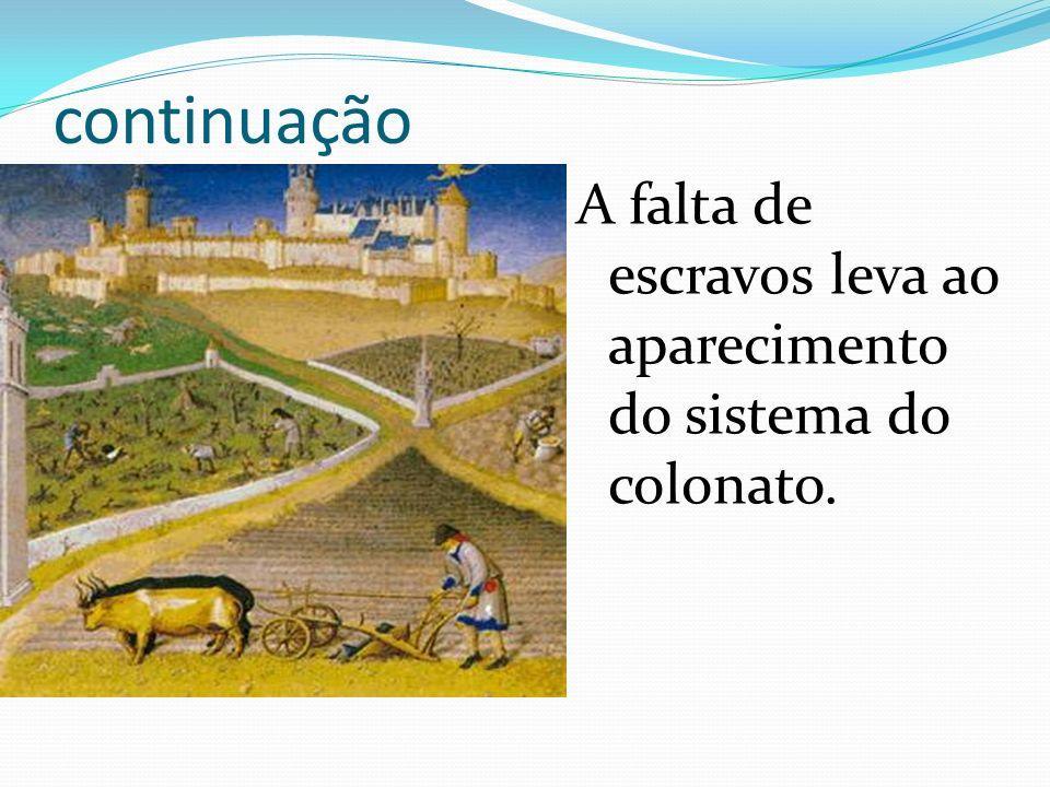 continuação A falta de escravos leva ao aparecimento do sistema do colonato.