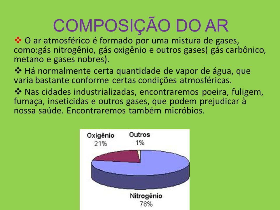COMPOSIÇÃO DO AR O ar atmosférico é formado por uma mistura de gases, como:gás nitrogênio, gás oxigênio e outros gases( gás carbônico, metano e gases nobres).