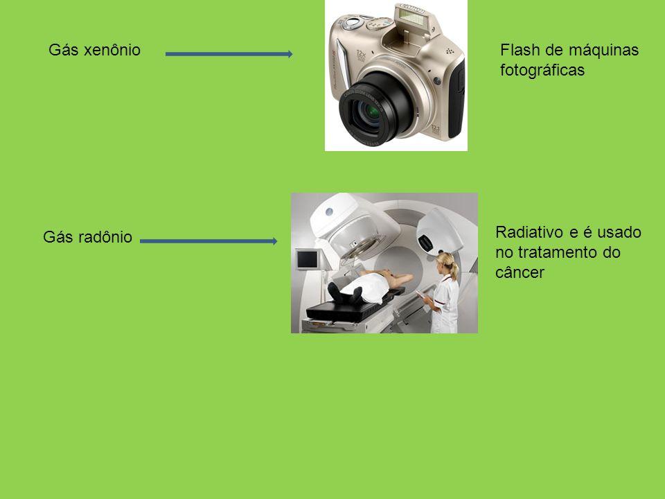 Gás xenônio Gás radônio Radiativo e é usado no tratamento do câncer Flash de máquinas fotográficas