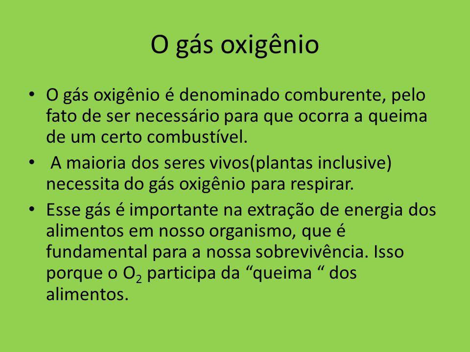 O gás oxigênio O gás oxigênio é denominado comburente, pelo fato de ser necessário para que ocorra a queima de um certo combustível.