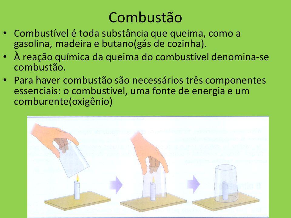 Combustão Combustível é toda substância que queima, como a gasolina, madeira e butano(gás de cozinha). À reação química da queima do combustível denom