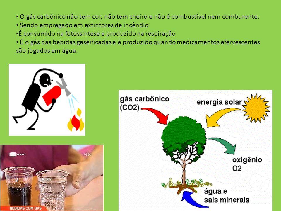 O gás carbônico não tem cor, não tem cheiro e não é combustível nem comburente. Sendo empregado em extintores de incêndio É consumido na fotossíntese