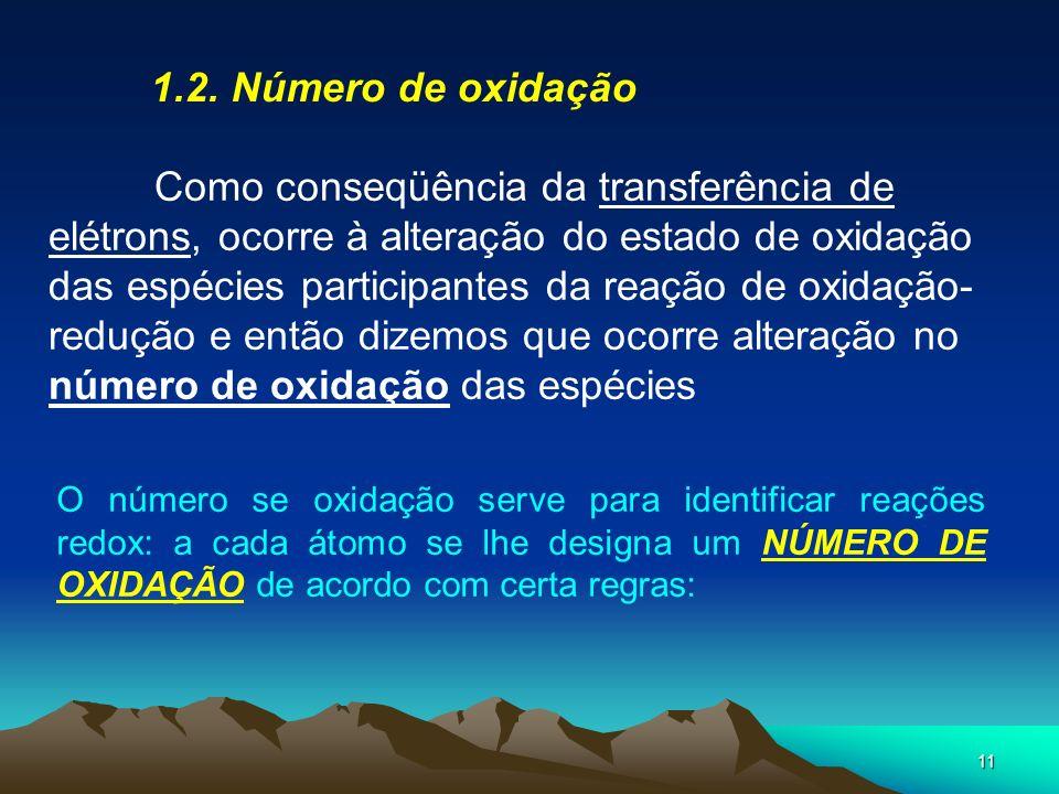 11 1.2. Número de oxidação Como conseqüência da transferência de elétrons, ocorre à alteração do estado de oxidação das espécies participantes da reaç