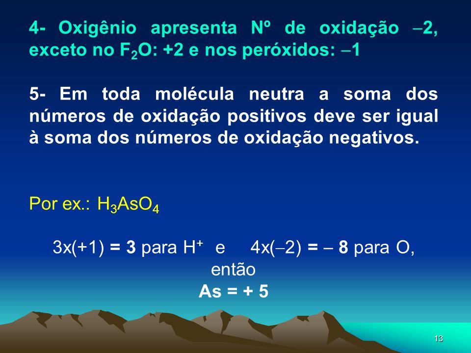 13 4- Oxigênio apresenta Nº de oxidação 2, exceto no F 2 O: +2 e nos peróxidos: 1 5- Em toda molécula neutra a soma dos números de oxidação positivos