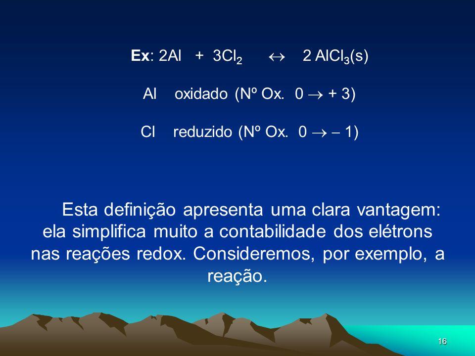 16 Ex: 2Al + 3Cl 2 2 AlCl 3 (s) Al oxidado (Nº Ox. 0 + 3) Cl reduzido (Nº Ox. 0 1) Esta definição apresenta uma clara vantagem: ela simplifica muito a