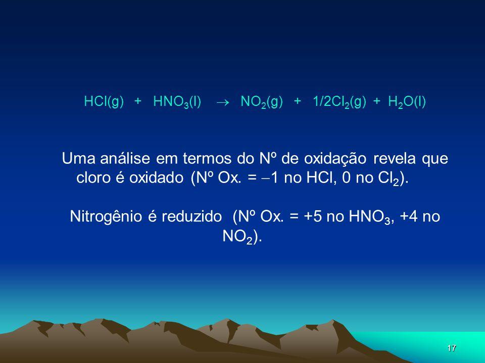 17 HCl(g) + HNO 3 (l) NO 2 (g) + 1/2Cl 2 (g) + H 2 O(l) Uma análise em termos do Nº de oxidação revela que cloro é oxidado (Nº Ox. = 1 no HCl, 0 no Cl