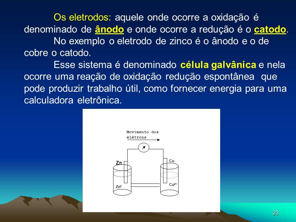 23 Cu 2+ Zn 2+ Zn Cu Movimento dos elétrons Os eletrodos: aquele onde ocorre a oxidação é denominado de ânodo e onde ocorre a redução é o catodo. No e
