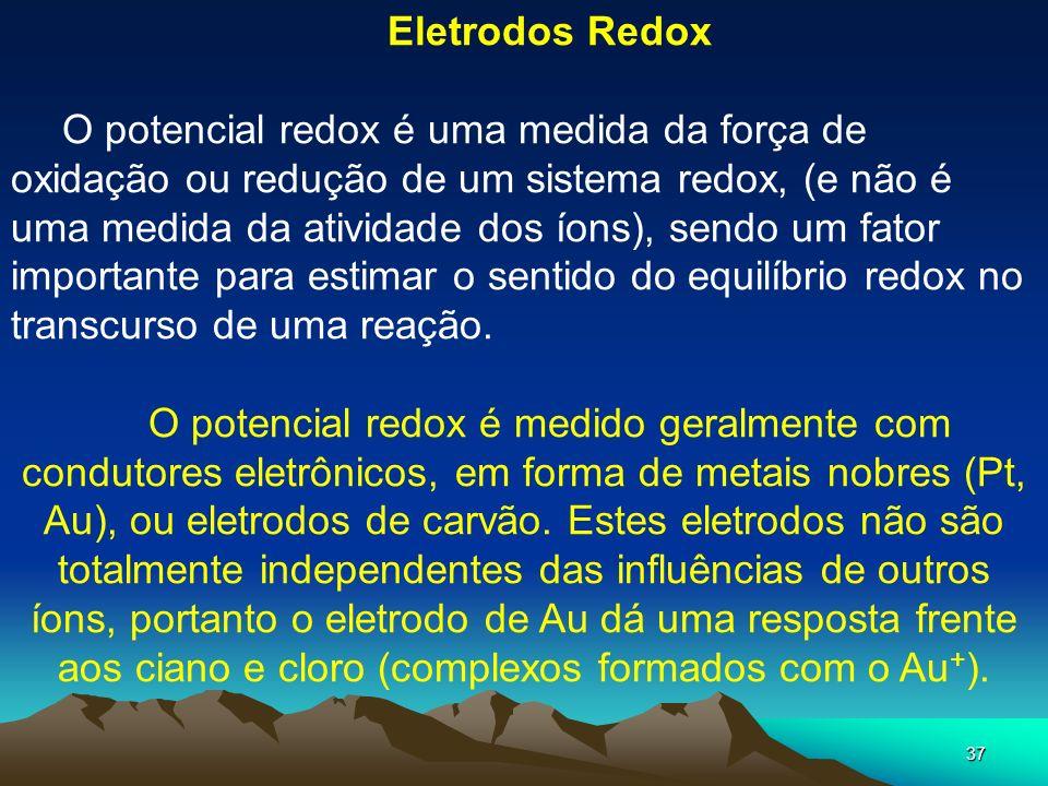 37 Eletrodos Redox O potencial redox é uma medida da força de oxidação ou redução de um sistema redox, (e não é uma medida da atividade dos íons), sen