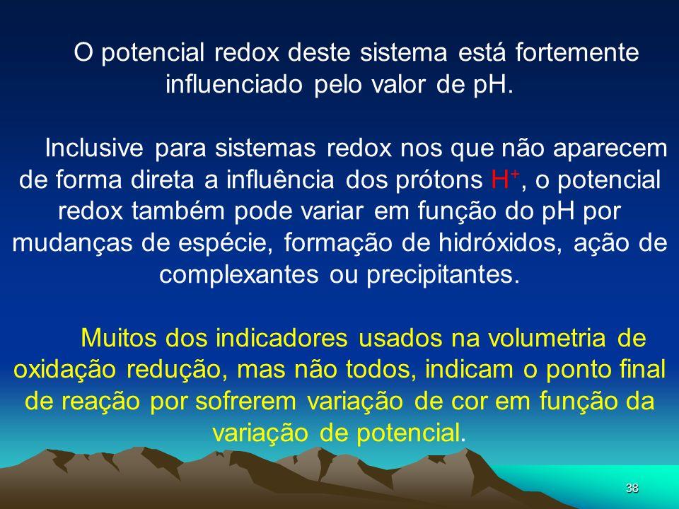 38 O potencial redox deste sistema está fortemente influenciado pelo valor de pH. Inclusive para sistemas redox nos que não aparecem de forma direta a