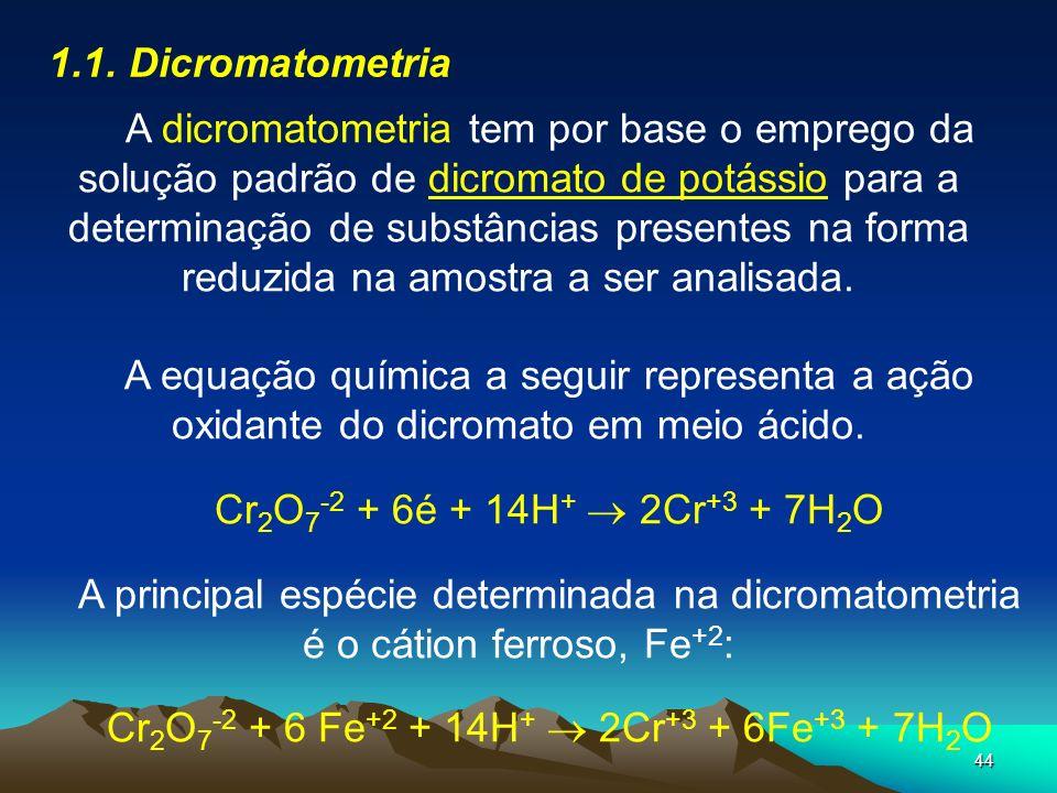 44 1.1. Dicromatometria A dicromatometria tem por base o emprego da solução padrão de dicromato de potássio para a determinação de substâncias present