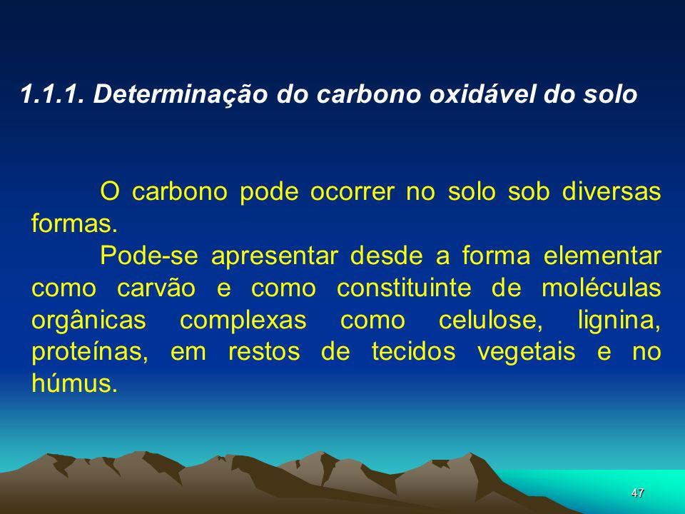47 1.1.1. Determinação do carbono oxidável do solo O carbono pode ocorrer no solo sob diversas formas. Pode-se apresentar desde a forma elementar como
