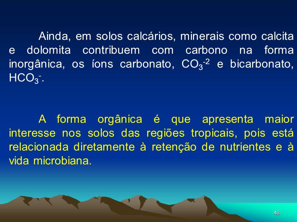 48 Ainda, em solos calcários, minerais como calcita e dolomita contribuem com carbono na forma inorgânica, os íons carbonato, CO 3 -2 e bicarbonato, H