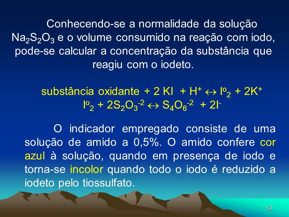 53 Conhecendo-se a normalidade da solução Na 2 S 2 O 3 e o volume consumido na reação com iodo, pode-se calcular a concentração da substância que reag