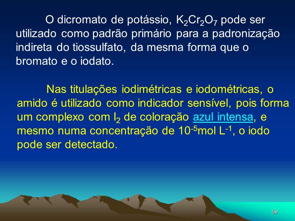 59 O dicromato de potássio, K 2 Cr 2 O 7 pode ser utilizado como padrão primário para a padronização indireta do tiossulfato, da mesma forma que o bro