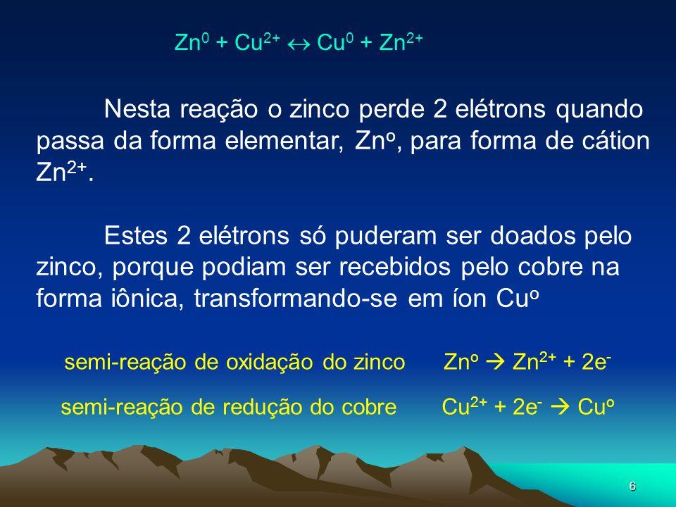 6 Nesta reação o zinco perde 2 elétrons quando passa da forma elementar, Zn o, para forma de cátion Zn 2+. Estes 2 elétrons só puderam ser doados pelo