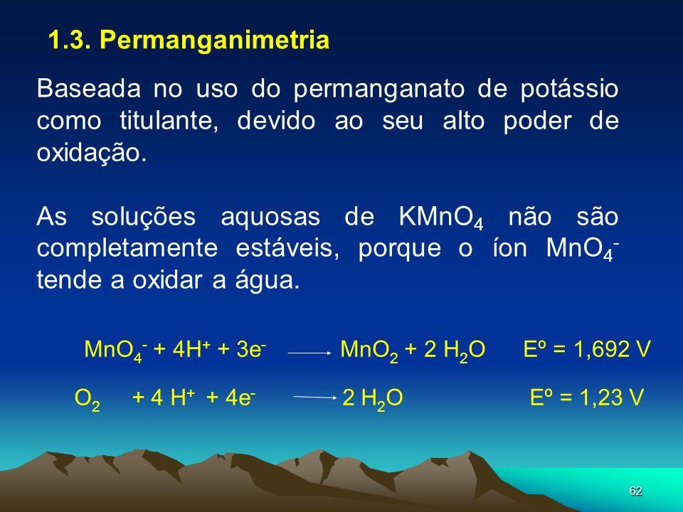 62 1.3. Permanganimetria Baseada no uso do permanganato de potássio como titulante, devido ao seu alto poder de oxidação. As soluções aquosas de KMnO